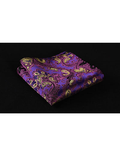 Purple Yellow Paisley Silk Skinny Tie Set