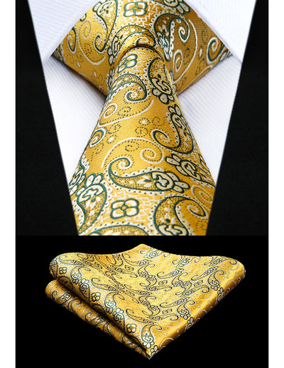 Yellow Paisley Standard Length Silk Tie Set