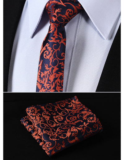 Navy Blue Orange Floral Silk Skinny Tie Set