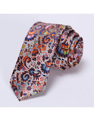 Orange, Blue, Green Floral Silk Skinny Tie Set