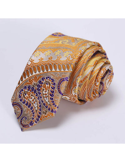 Orange Purple Paisley Silk Skinny Tie Set