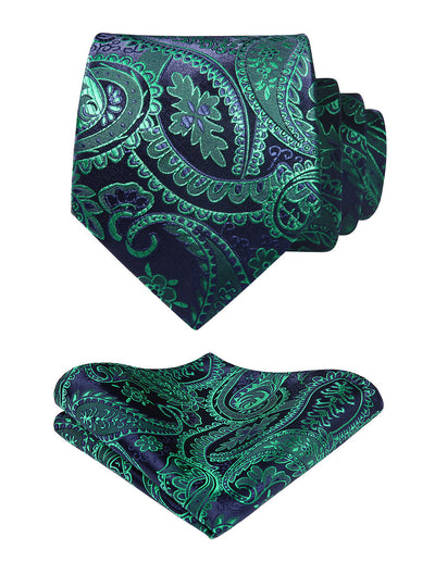 Blue And Green Paisley Standard Length Silk Tie Set
