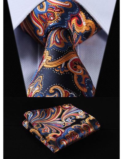 Orange, Navy Blue Paisley Standard Length Silk Tie Set
