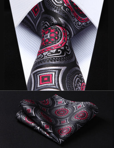 Black, Red, White Floral Standard Length Silk Tie Set