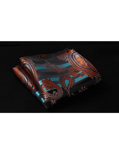 Orange, Aqua Paisley Standard Length Silk Tie Set