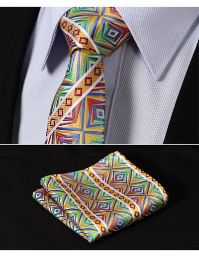 Green, Yellow, Orange Check Silk Skinny Tie Set