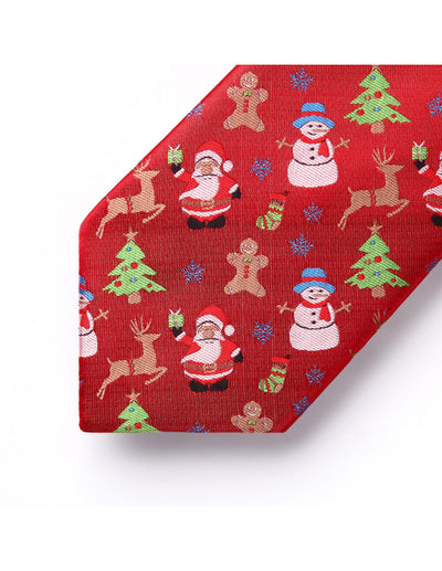 Christmas Red, White Green Floral Silk Tie Set