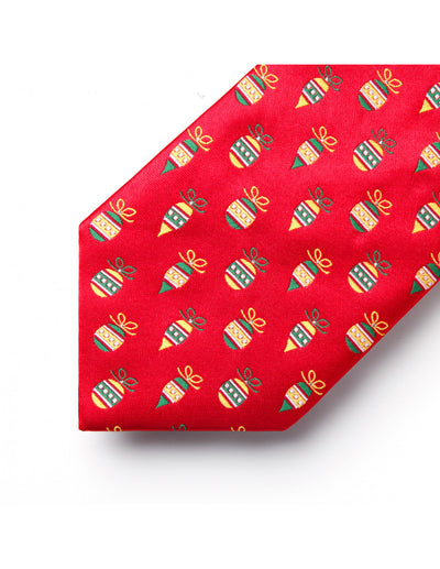 Christmas Red Yellow Green Jacquard Silk Tie Set