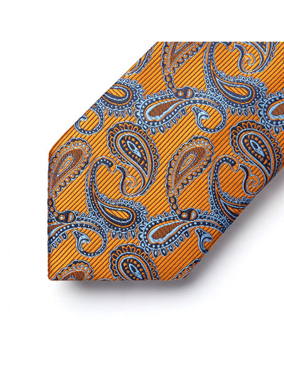 Orange, Blue Paisley Standard Length Silk Tie Set