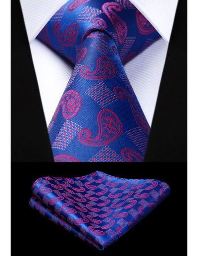 Blue, Pink Paisley Standard Length Silk Tie Set