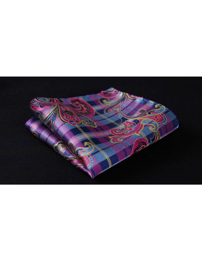 Pink Blue Paisley Standard Length Silk Tie Set