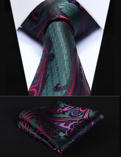 Green Red Paisley Standard Length Silk Tie Set