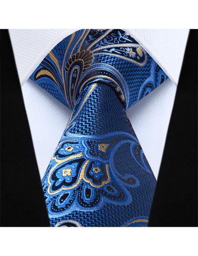 Blue Yellow Paisley Jacquard Woven Silk Ties And Pocket Square