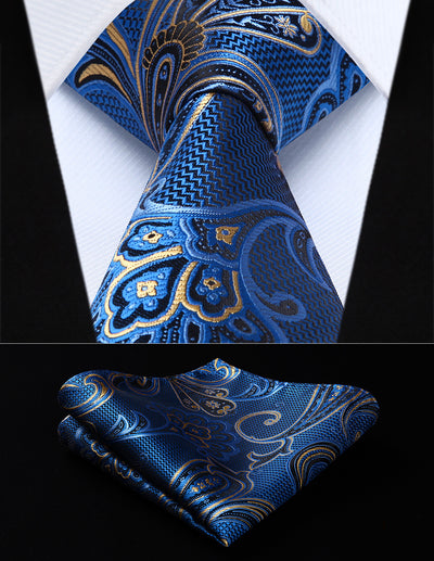 Blue paisley silk tie and pocket square for men