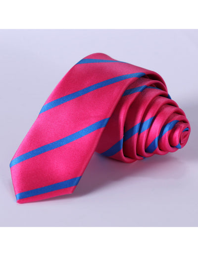 Pink Blue Striped Silk Skinny Tie Set