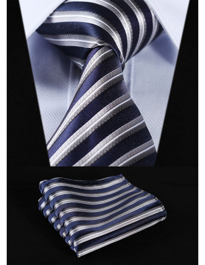 Navy Blue Gray Striped Standard Length Silk Tie Set