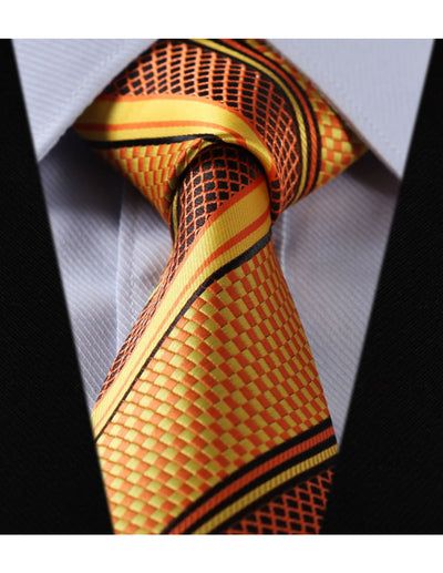 Orange Yellow Check Standard Length Silk Tie Set
