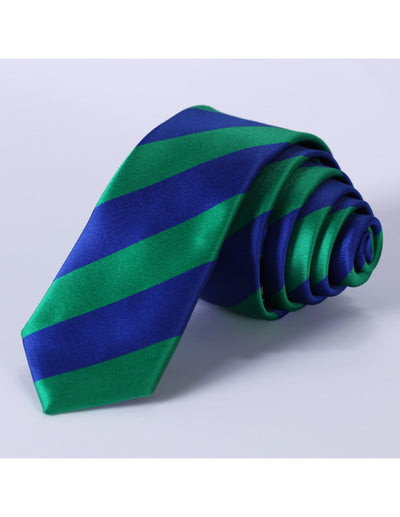 Blue Green Striped Silk Skinny Tie Set