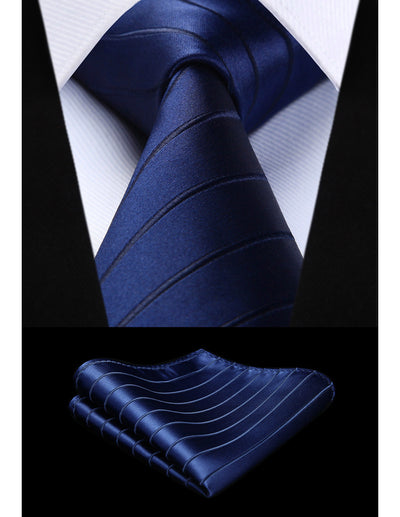 Navy Blue Black Striped Standard Length Silk Tie Set