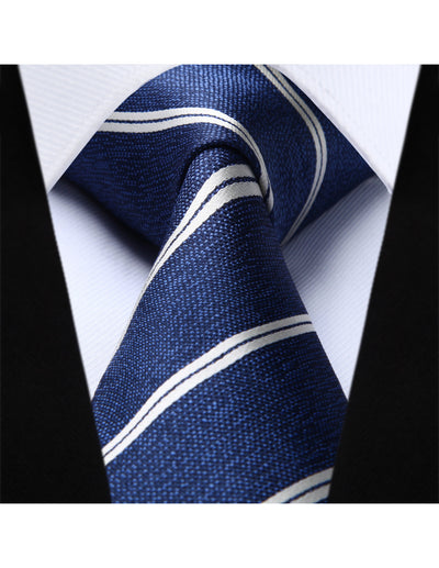 "Blue Striped Classic 3.4"" Silk Tie Set"