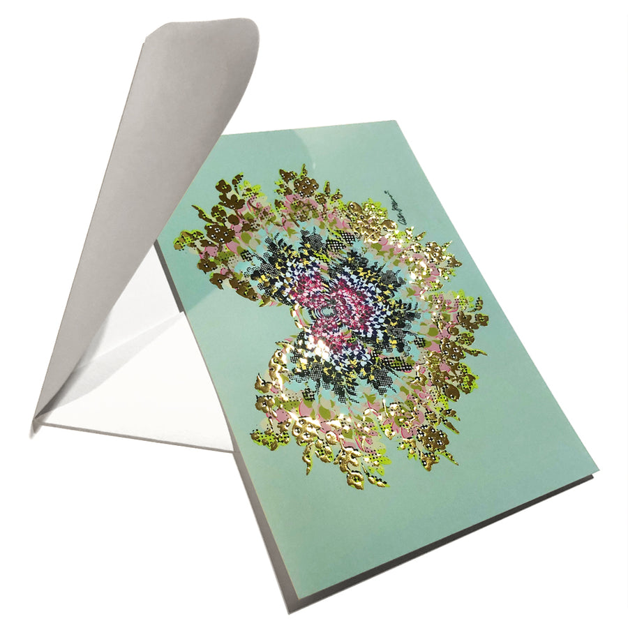 Art Postcard - Butterfly Kiss (turquoise green) - shop.reettahiltunen.com