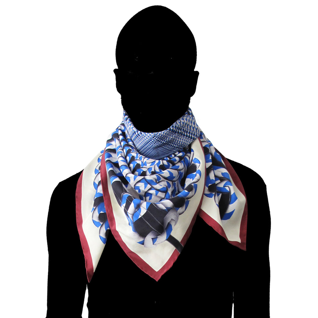 Hoop Hoop Hurray! (blue/red) - Silk Scarf