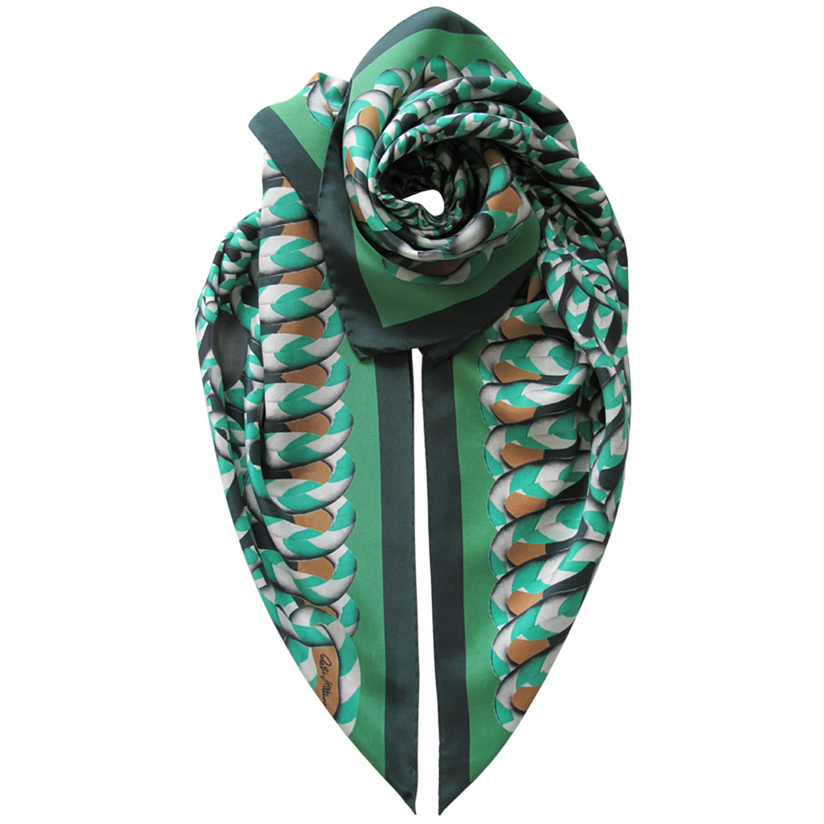 Hoop Hoop Hurray! (green) - Silk Scarf