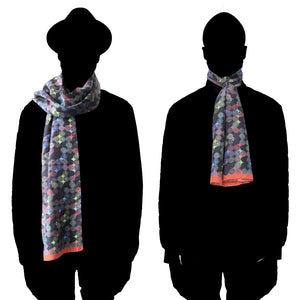 Labyrinth (orange border) - Long Silk Scarf