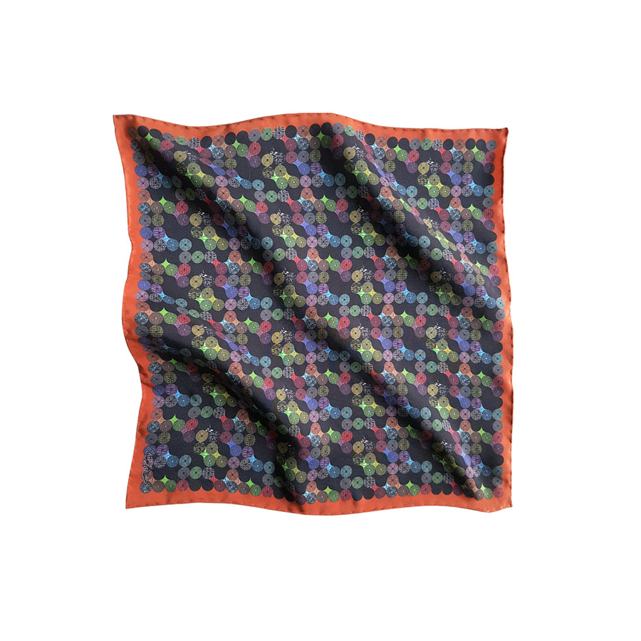Labyrinth (orange border) - Pocket Square - shop.reettahiltunen.com