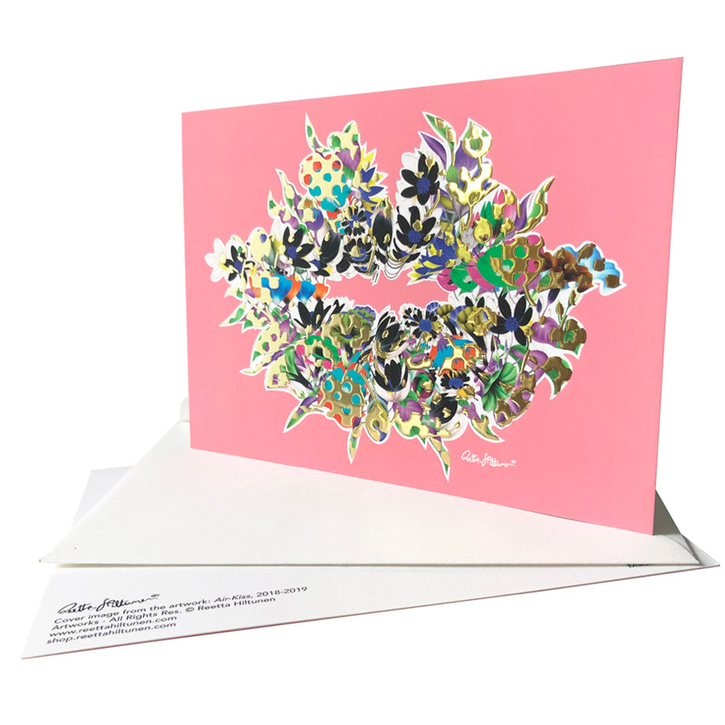 Art Postcards - Air-Kiss (pink-foil-vivid-floral4) - shop.reettahiltunen.com