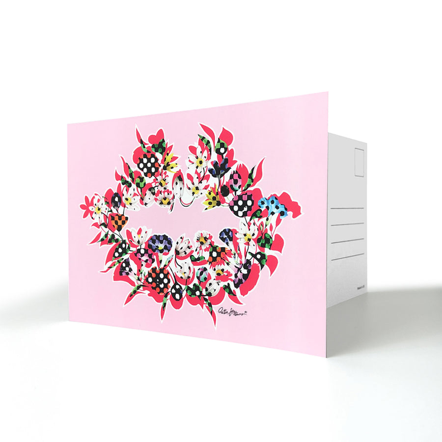 Art Postcards - Air-Kiss (pink) - shop.reettahiltunen.com