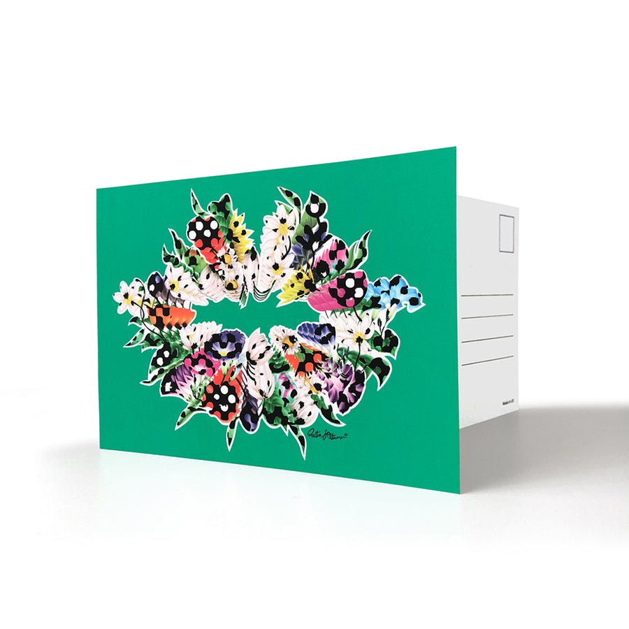 Art Postcards - Air-Kiss (turquoise) - shop.reettahiltunen.com