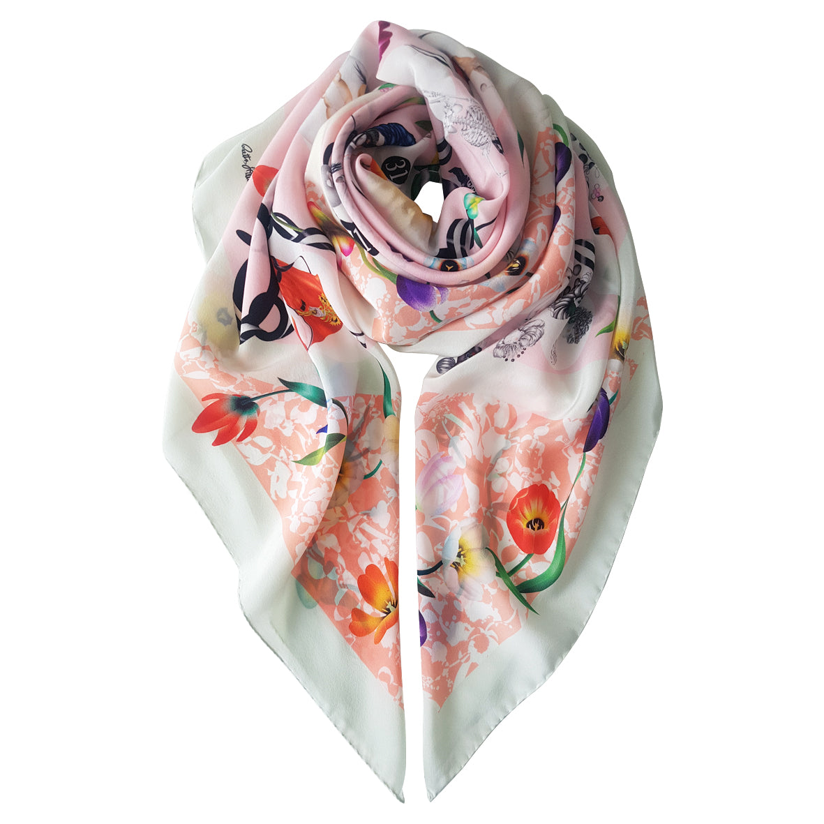 The Spiral Of Ethics (pink) - Silk Scarf