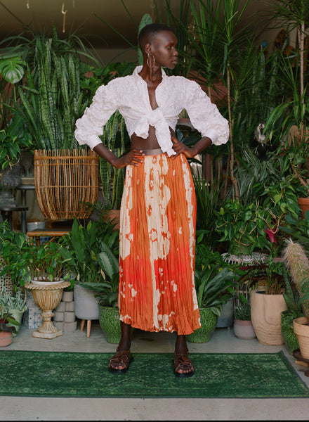Petersyn-Caprice-Pony-Skirt-Spring 20- Exposed Elastic Waist  Broomstick Skirt - Ikat Pony Print- Boho Contemporary Fashion- Destination Dressing- Resort Wear - Casual Party Skirt- Day to Evening