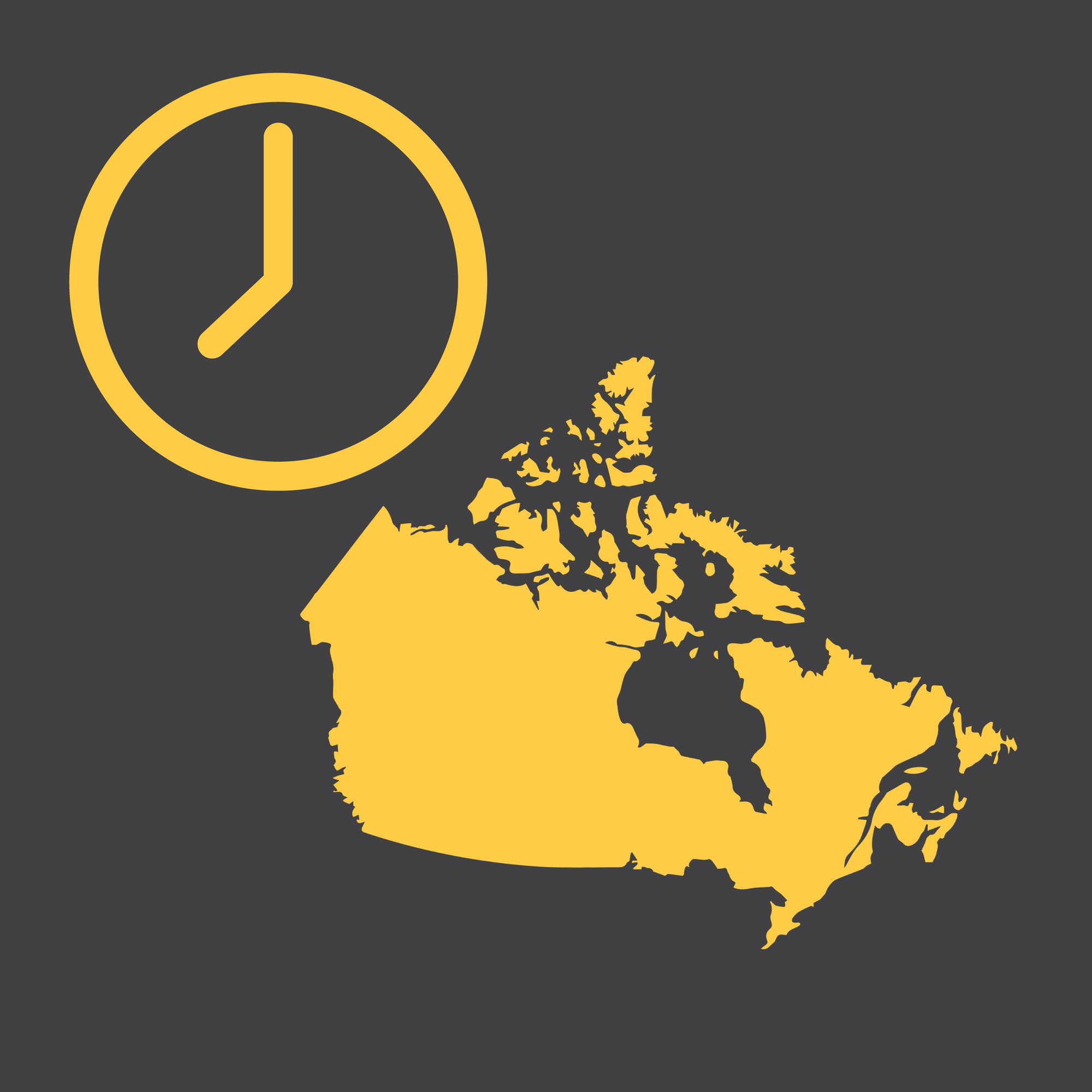 Canada Modern Wall Clocks - City Map Wall Clocks - Point Two Design