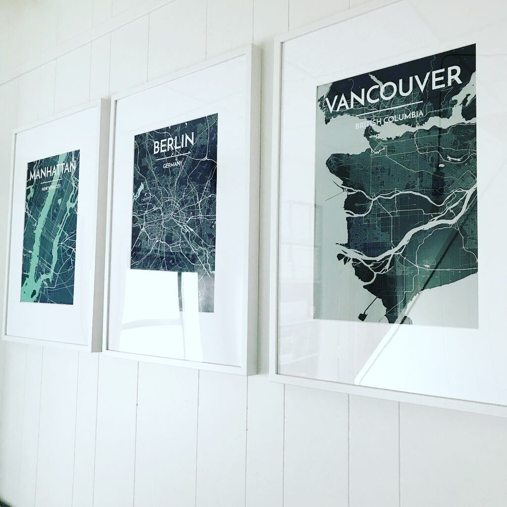 City Map Prints of Vancouver and Berlin