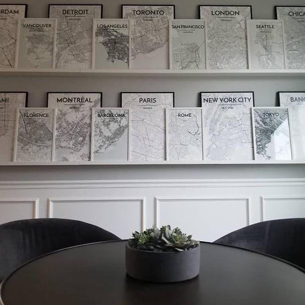 Black and White City Map Prints on Shelves