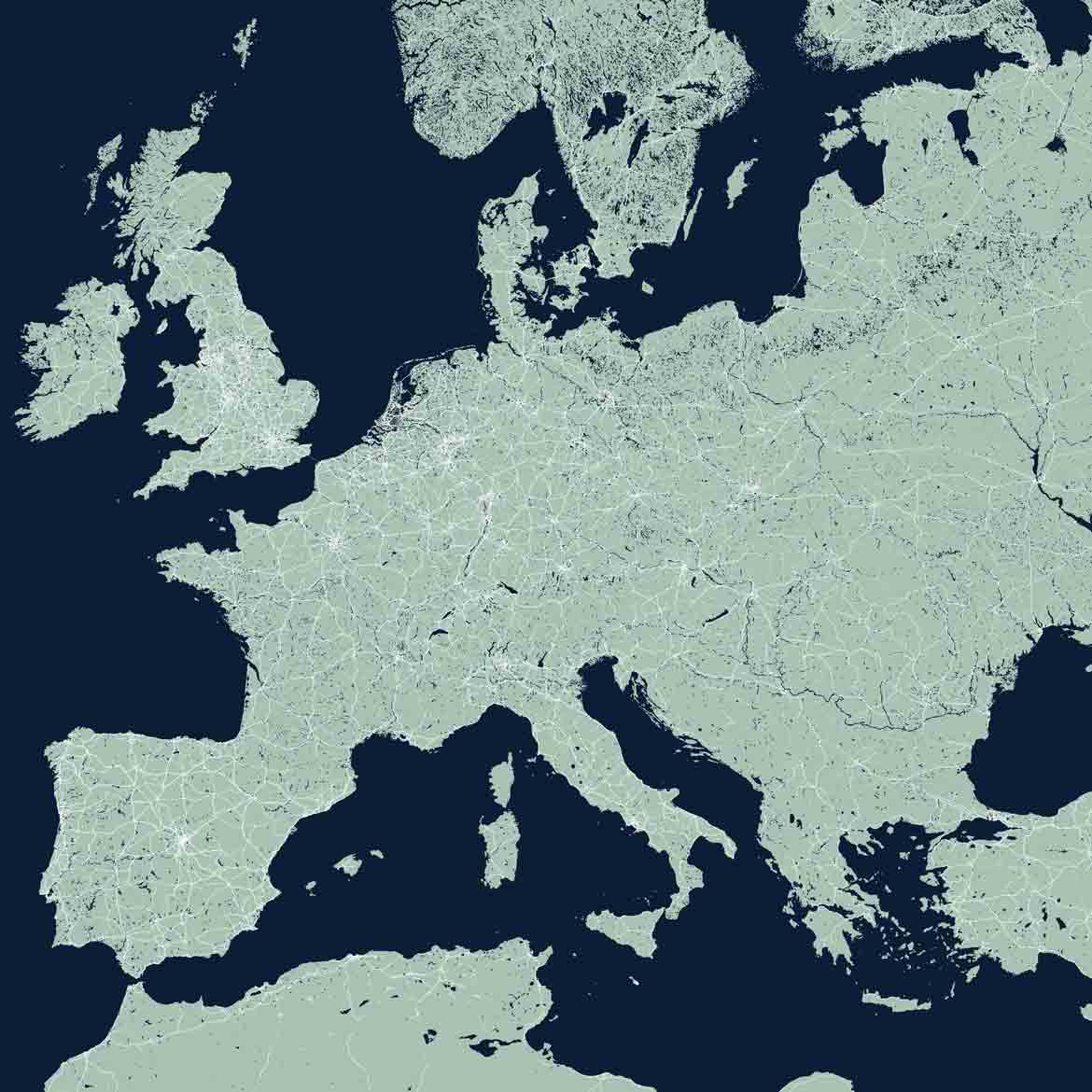 Europe Map Print Products