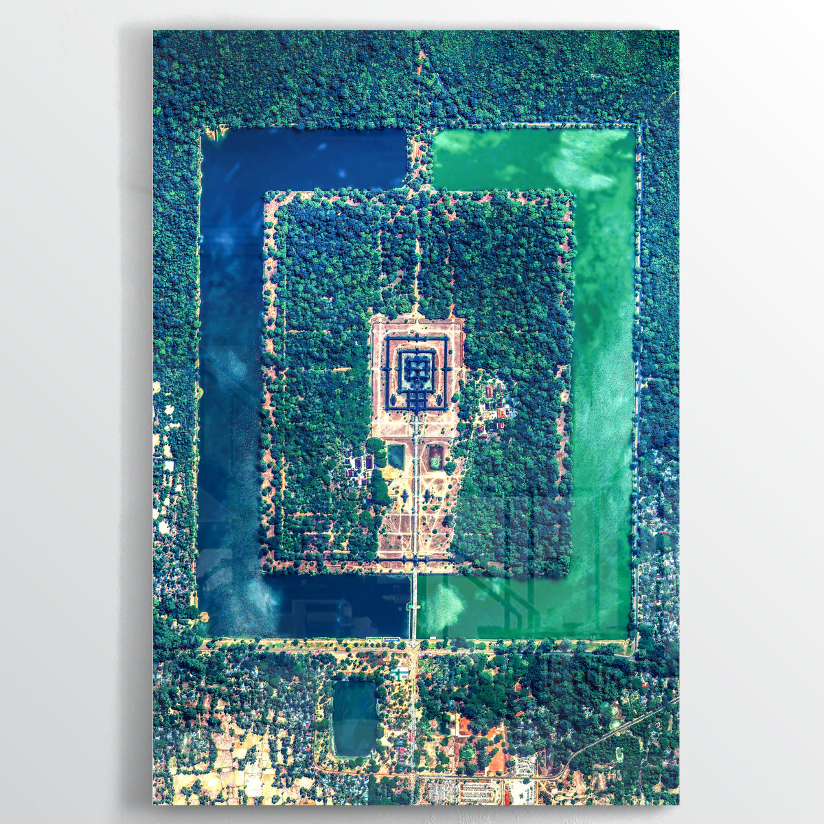 Angkor Wat Earth Photography - Floating Acrylic Art - Point Two Design