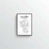 Calgary City Map Art Print - Point Two Design - Black and White