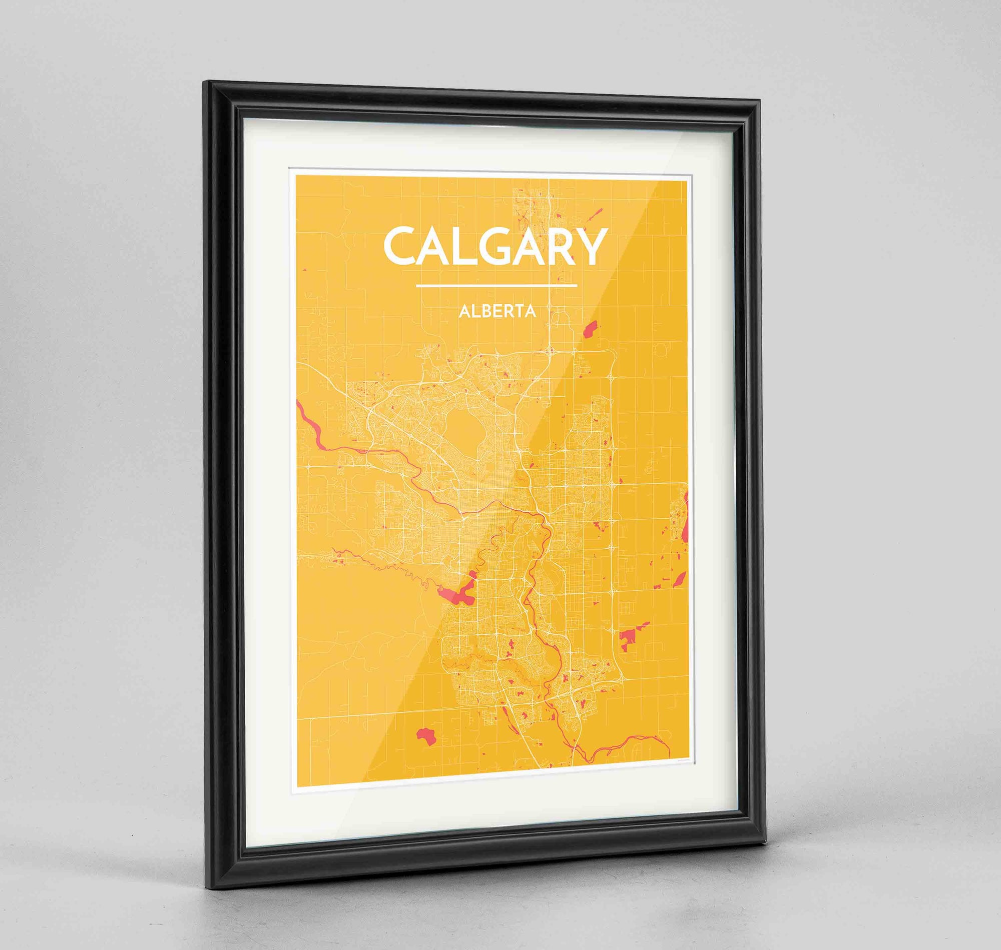 "Framed Calgary City Map 24x36"" Traditional Black frame Point Two Design Group"