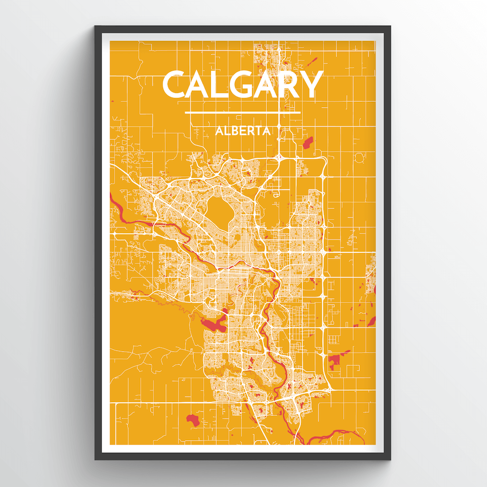 Calgary City Map City Map Art Prints - High Quality Custom Made Art