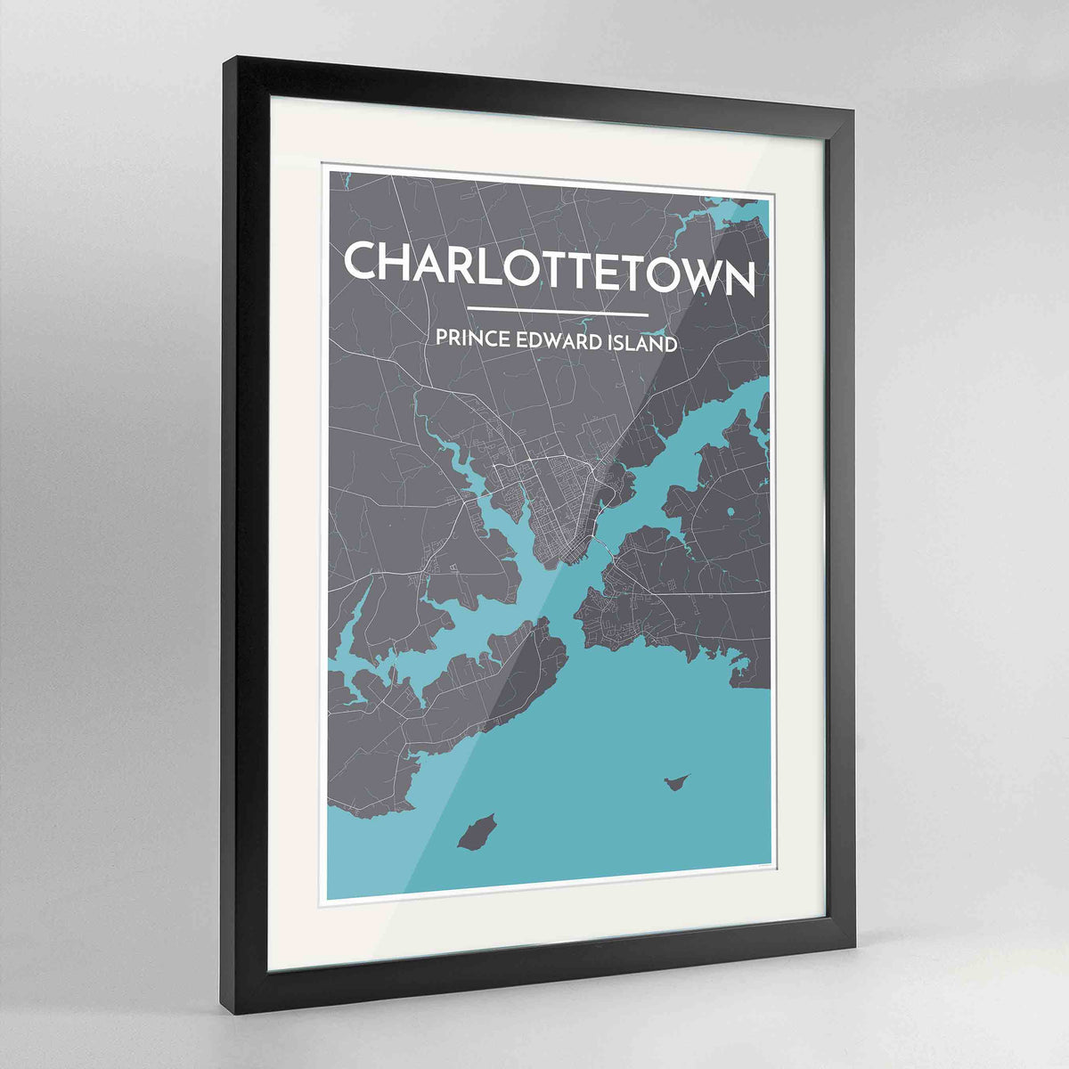 "Framed Charlottetown City Map 24x36"" Contemporary Black frame Point Two Design Group"