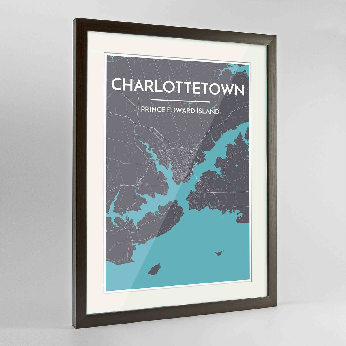 "Framed Charlottetown City Map 24x36"" Contemporary Walnut frame Point Two Design Group"