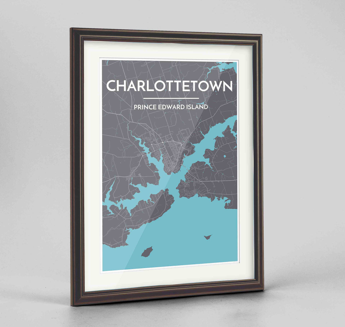 "Framed Charlottetown City Map 24x36"" Traditional Walnut frame Point Two Design Group"