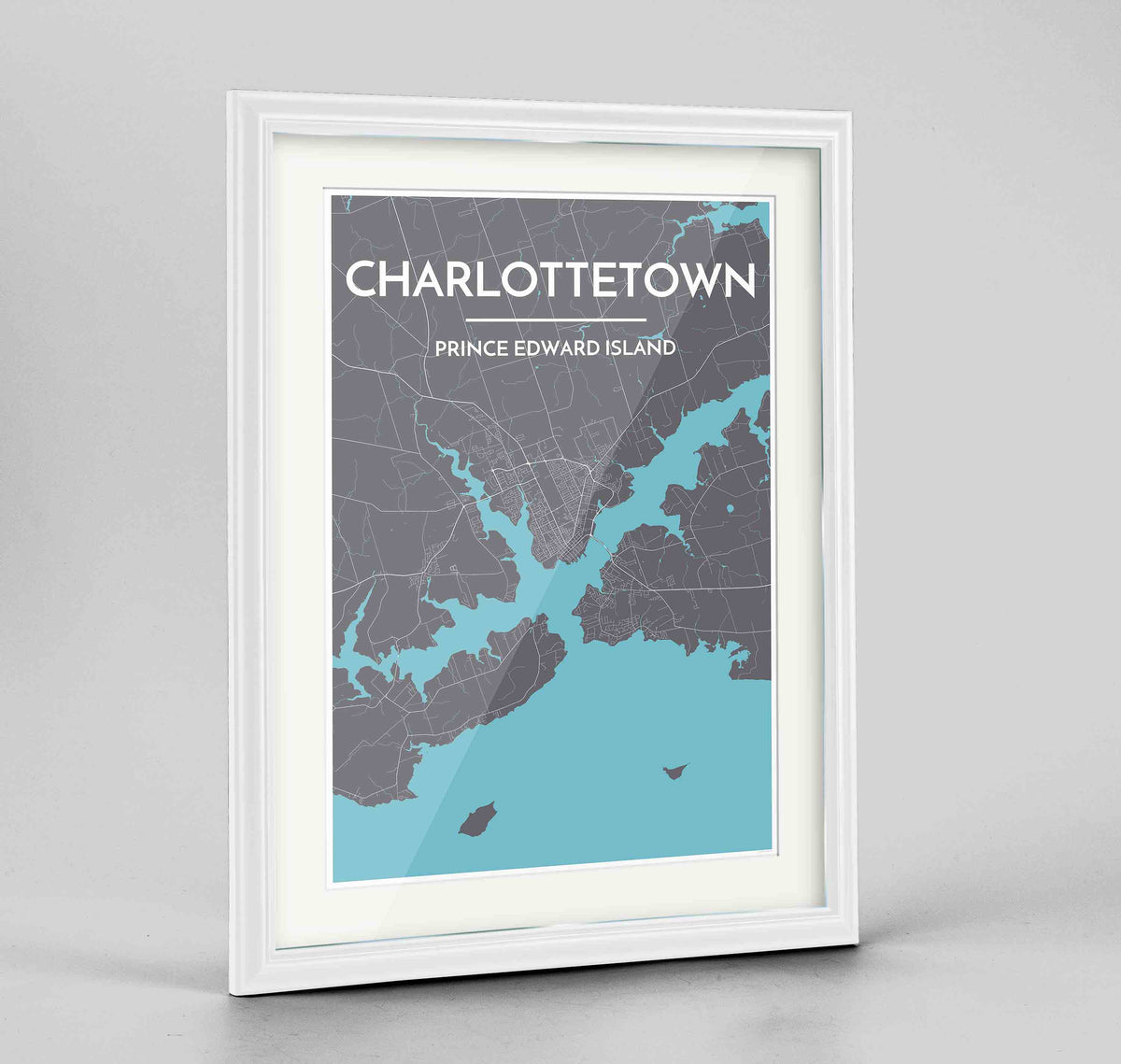 "Framed Charlottetown City Map 24x36"" Traditional White frame Point Two Design Group"