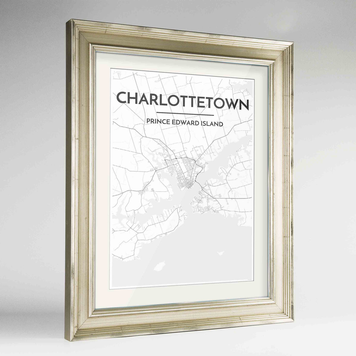 "Framed Charlottetown City Map 24x36"" Champagne frame Point Two Design Group"