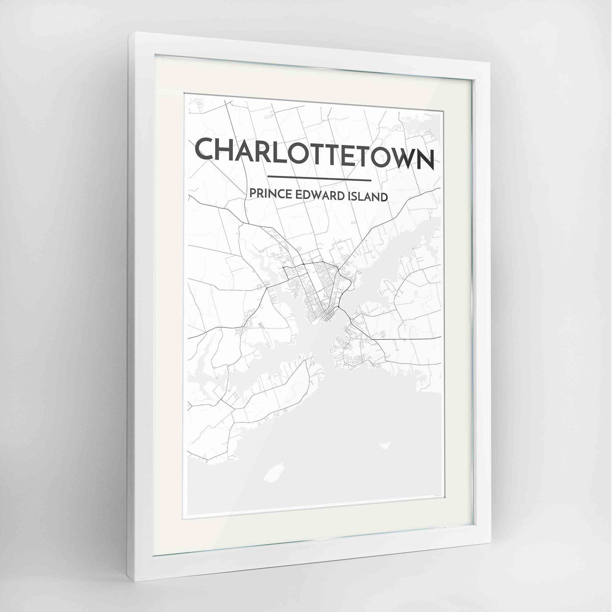 "Framed Charlottetown City Map 24x36"" Contemporary White frame Point Two Design Group"