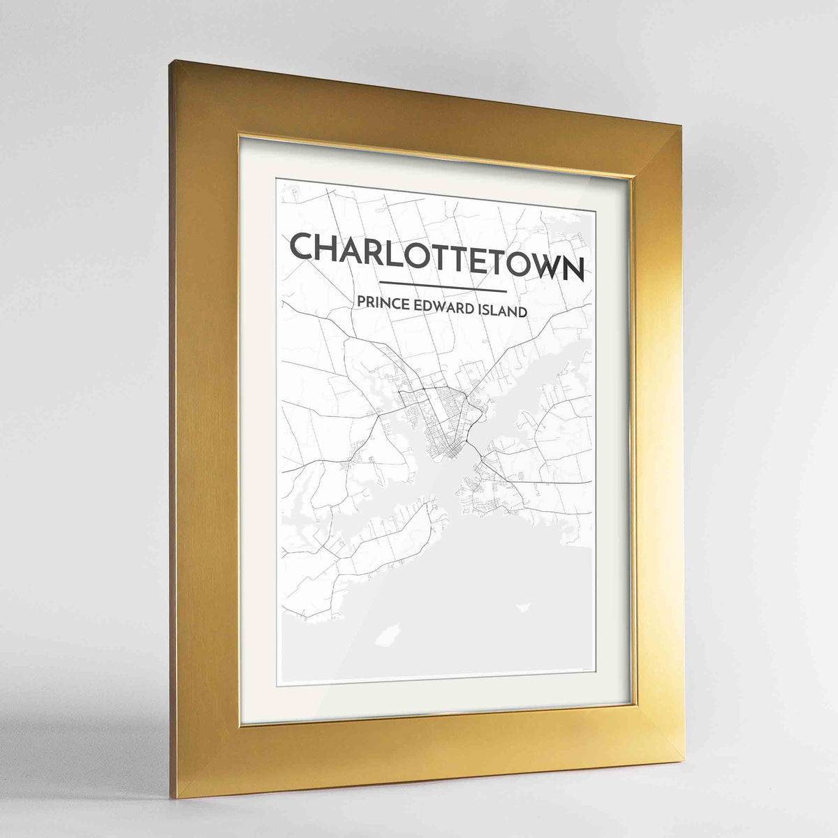 "Framed Charlottetown City Map 24x36"" Gold frame Point Two Design Group"