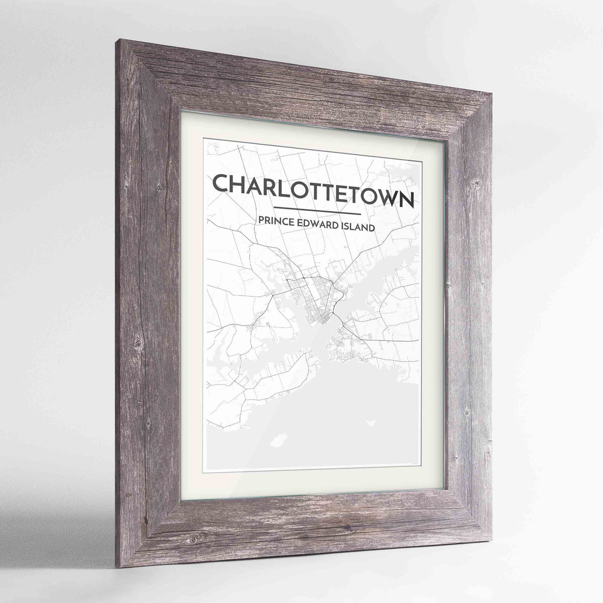 "Framed Charlottetown City Map 24x36"" Western Grey frame Point Two Design Group"